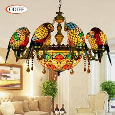 stained glass dining room light odiff european 6 8 heads living room dining room parrot crystal