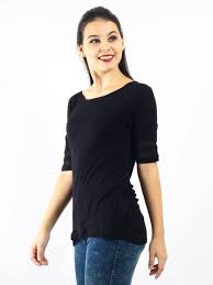 rayon blouse rayon spandex with see through details on sleeves blouse in black