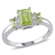 peridot engagement ring 1 25ctw peridot and 10k white gold emerald cut and