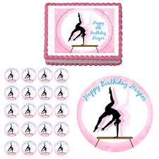 gymnastics cake toppers gymnastics gymnast edible birthday party cake cupcake toppers