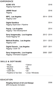 Vfx Jobs Resume by George Saavedra U2013 Rigging U0026 Development