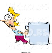 vector of a struggling cartoon woman pulling an oversized coffee