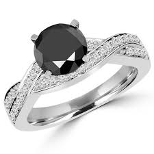 twisted band engagement ring cut black twisted band engagement ring with white