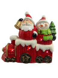ceramic santa u0026 snowman in train with led light 12cm ornaments