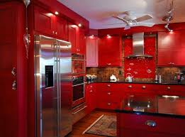 Red Mahogany Kitchen Cabinets Kitchen Beautiful Red Kitchen Cabinet With Flower Design The
