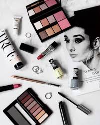 Makeup Emk flatlay laviededaphne instagram with makeup products and nail