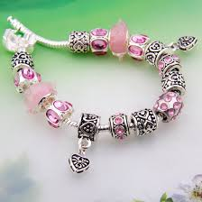 charm bracelet murano glass images European style silver pink crystal heart charm bracelet for women jpg