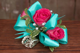 turquoise corsage spray wrist corsage ludemas