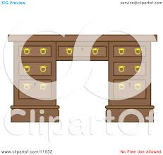 Wooden Office Desk by Wooden Office Desk With Drawers Clipart Illustration By