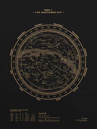 Sky Maps Map I U0026 Map Ii U2014 The Northern U0026 Southern Sky Gold Black U2013 Stellavie