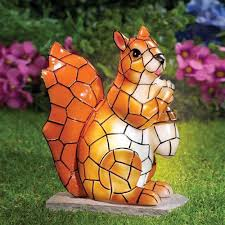 yard lighted squirrel statue outdoor solar figurines lawn decor