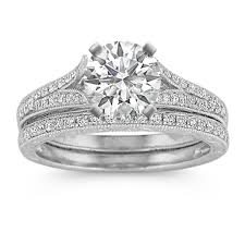platinum pave rings images Vintage cathedral diamond wedding set in platinum with pave jpg