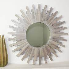 wall mirror teak wood sunburst frame thai decor oak or grey finish