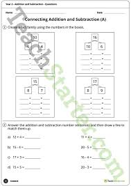 number worksheets addition and subtraction year 2 teaching