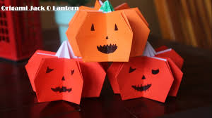 cara membuat origami labu halloween jack o lantern youtube