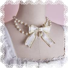 pearl bow necklace images Ribbon bow pearl choker necklace long ears sharp ears 39 studio jpg
