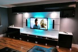 living impressive nice design led tv room bedroom with grey