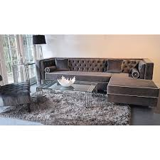 Charcoal Tufted Sofa by Velvet Sectional Sofa Tehranmix Decoration