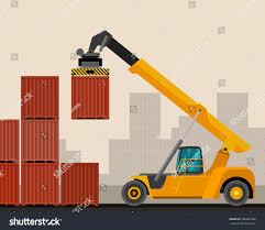 reach stacker container industrial crane construction stock vector
