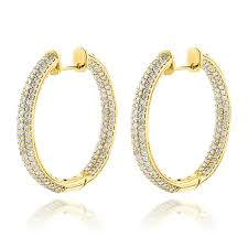 14k gold hoop earrings gold large inside out diamond hoop earrings 6ct