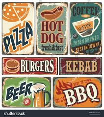 vintage restaurant signs collection retro food stock vector