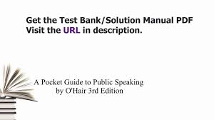 practice test bank for a pocket guide to public speaking by o u0027hair