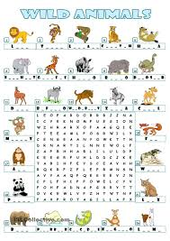 Halloween Word Search Free Printable Wild Animals Wordsearch Esl For Elementary Pinterest Wild