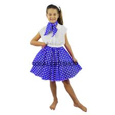 kids rock n roll skirt set fancy dress costume dance 1950s polka