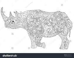 hand drawn rhinoceros isolated on transparent stock vector