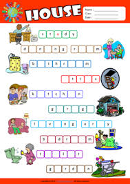parts of a house missing letters in words esl vocabulary worksheet