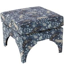 traci pillow top ottoman leopard blue ottomans living room
