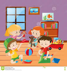 many kids folding paper craft in the room stock illustration