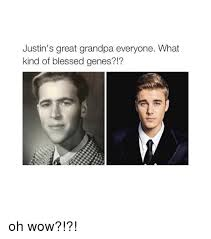 Oh Wow Meme - justin s great grandpa everyone what kind of blessed genes oh
