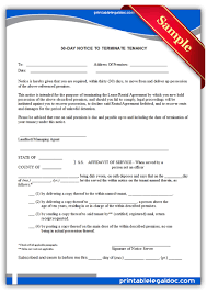 Tenant Notice Of Termination by Free Printable 30 Day Notice