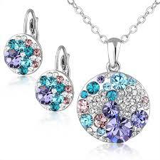 swarovski crystal necklace set images Mickey minnie swarovski crystal series jewelry set necklace jpg
