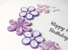 birthday card with pink and purple flowers quilling kartka