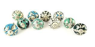 Sellers Kitchen Cabinet Parts Karmakara Ornate Blue Floral Ceramic Knobs For Cabinets