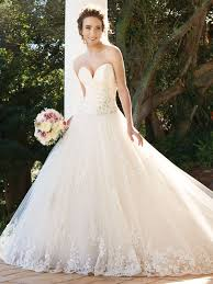 champagne plunging sweetheart neckline ball gown wedding dress