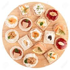 canap toast isolated assortment of canape toast stock photo picture and royalty
