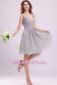 quince dama dresses empire gray v neck ruching chiffon knee length dama dress for