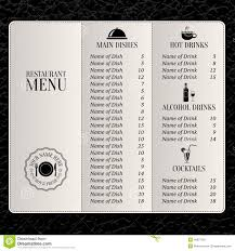 drink menu template free restaurant menu price list template
