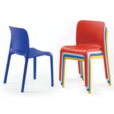 poppy stackable plastic chairs in red brown blue orange yellow