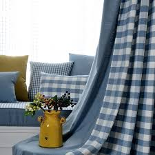 Blue Plaid Curtains Pastoral Blended Custom Pinch Pleated Apartment Plaid Curtains