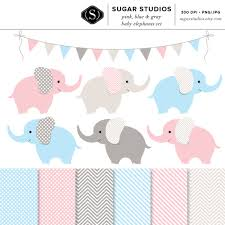 pink blue and gray baby elephants 13 piece digital clip art