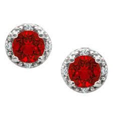 ruby stud earrings cut ruby birthstone diamond white gold stud earrings