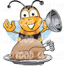 food clip art of a hungry honey bee mascot cartoon character