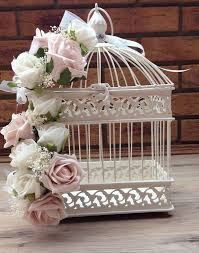 Home Decor Bird Cages Vintage Shabby Chic Dusky Pink Ivory Roses Bird Cage Wedding