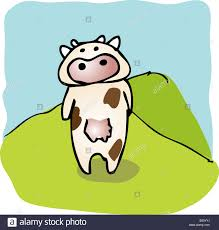 cute cartoon cow standing on a hill hand drawn linear illustration