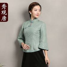 shirts and blouses stand up collar jacquard blouse shirts