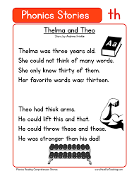 phonics words stories th reading comprehension worksheet